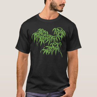 Light Green Bamboo Leaves on Black T-Shirt
