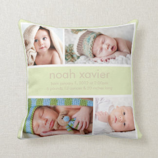 Light Green Birth Announcement Throw Pillow