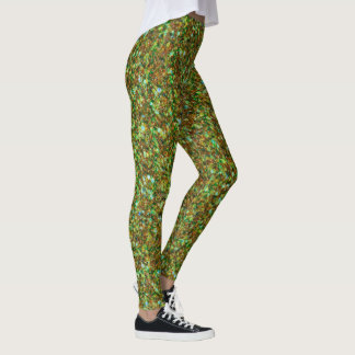 Light Green & Brown Glitter Texture Leggings