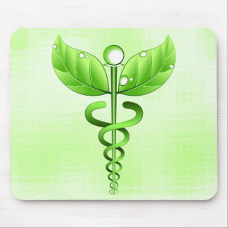 Light Green Caduceus Alternative Medicine Medical Mouse Pad