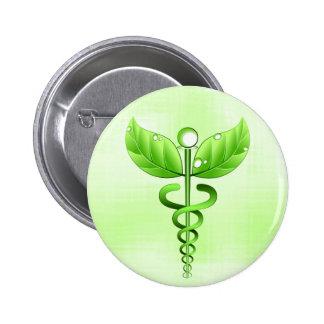 Light Green Caduceus Alternative Medicine Symbol 2 Inch Round Button