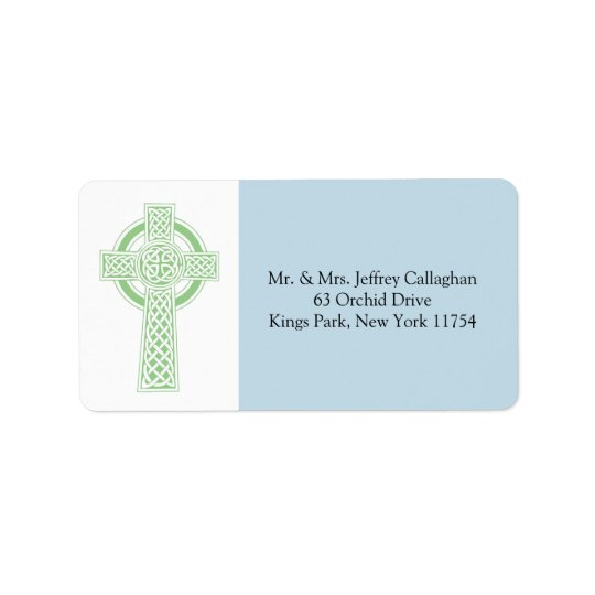 Light Green Celtic Cross with Return Address