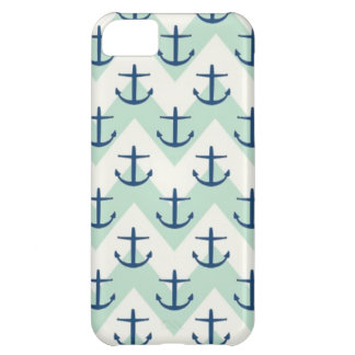 Light Green Chevron Anchors iPhone 5C Cases