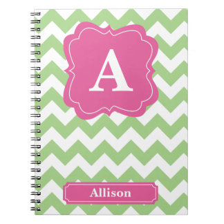 Light Green Chevron Monogram Notebooks