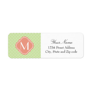 Light Green Chevron Zigzag Stripes with Monogram