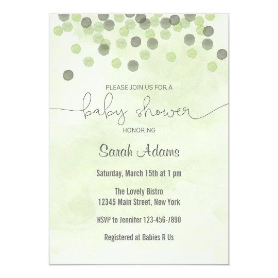 Light Green Confetti Baby Shower Invitation