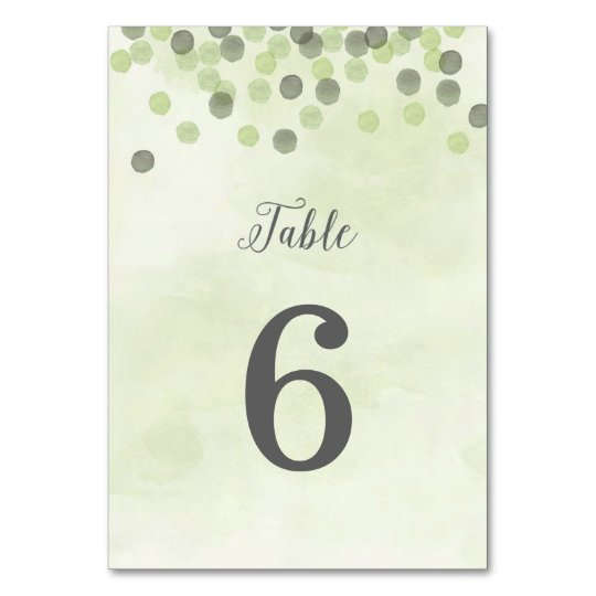 Light Green Confetti Wedding Table Number Card