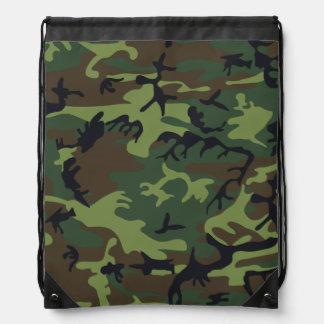 Light Green, Dark Green, Brown, Black Camouflage Drawstring Bag