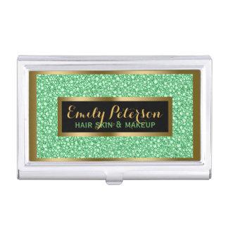 Light Green Fax Glitter Gold Accents Makeup Business Card Holder
