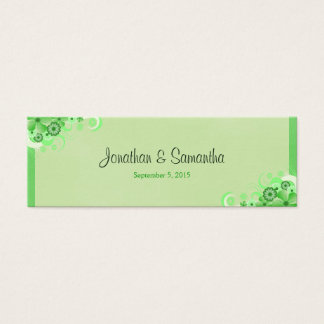 Light Green Floral Small Wedding Favor Favour Tags Mini Business Card