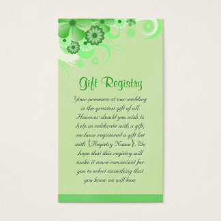 Light Green Floral Wedding Gift Registry Cards