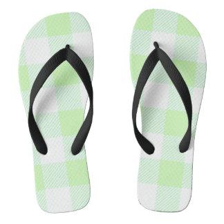 light green gingham check pattern flip flops