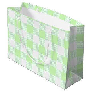 light green gingham check pattern large gift bag