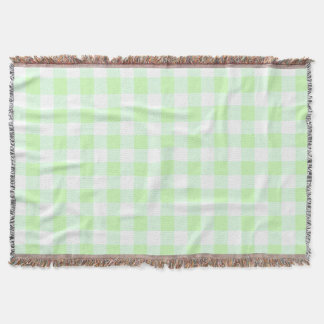 light green gingham check pattern throw blanket