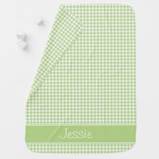 Light Green Gingham | Personalized Baby Blanket