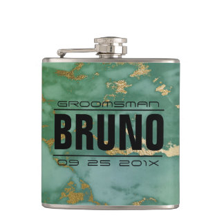 Light_green & Gold Marble Stone Groomsman Gift Hip Flask