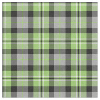 Light Green, Grey, Black and White Plaid Fabric