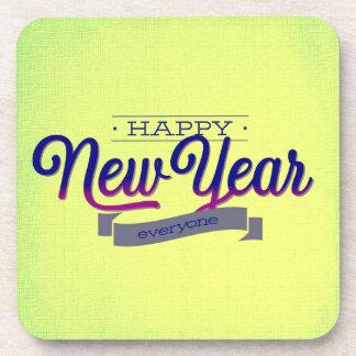 Light Green Happy New Year Beverage Coaster