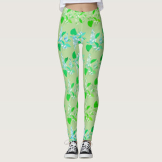 Light Green Leggings With Lilacs