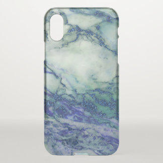 Light Green Marble Blue Glitter Accent iPhone X Case