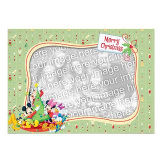 Light Green Mickey Friends Merry Christmas Card Invite