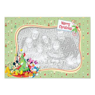 Light Green Mickey & Friends: Merry Christmas Card Invite