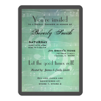 Light green Musical theme bridal shower Card
