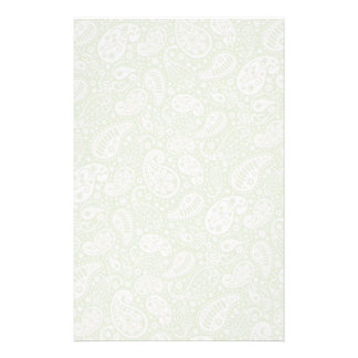 Light Green Paisley Floral Pattern Stationery Paper