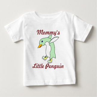 Light Green Penguin with Blue & Yellow Ice Skates Baby T-Shirt