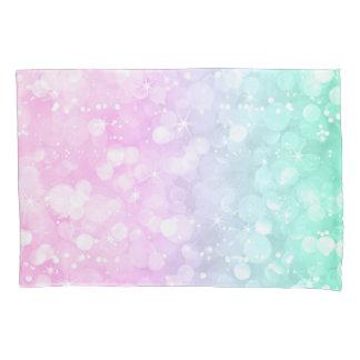 Light Green & Pink Bokeh Glitter Pillowcase