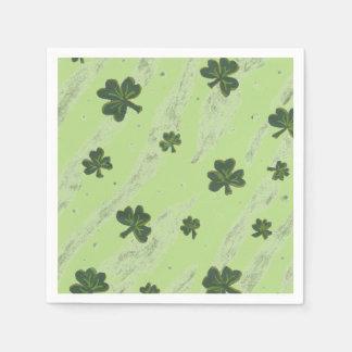 Light green shamrock pattern cocktail paper napkin