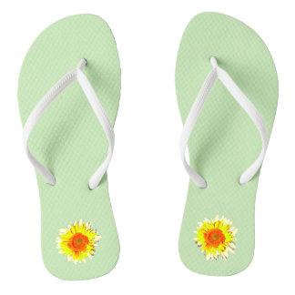 Light Green Sunflower on Flip Flops