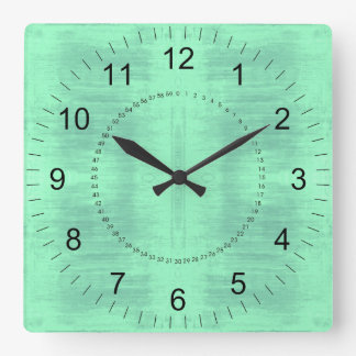 Light Green Textured Pattern Square Wall Clock