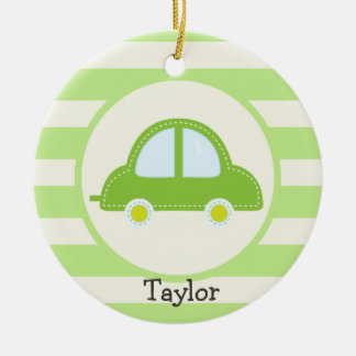 Light Green Toy Car Round Ceramic Ornament