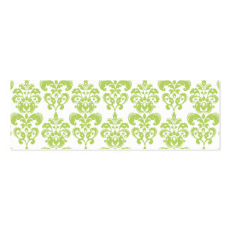Light Green Vintage Damask Pattern 2 Mini Business Card