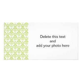 Light Green Vintage Damask Pattern 2 Photo Cards