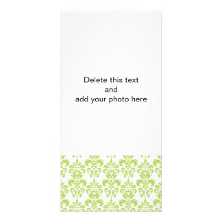 Light Green Vintage Damask Pattern 2 Photo Greeting Card