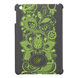 Light Green Vintage Lace & Black Linen Texture iPad Mini Cases