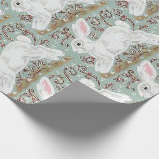 Light Green White Bunny Rabbit Christmas Gift Wrap