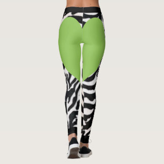 Light Green Zebra Heart Leggings
