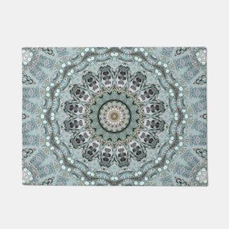 Light Grey and Aqua Mandala Doormat