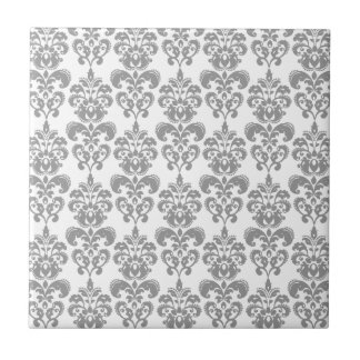 LIGHT GREY AND WHITE DAMASK PATTERN 2 TILE