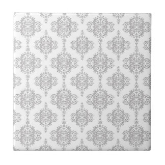 Light Grey and White Vintage Damask Tiles