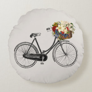 Light grey bicycle flower   Throw pillow round
