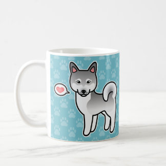 Light Grey Cartoon Alaskan Klee Kai Love Mug