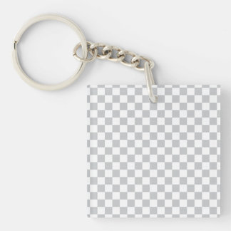 Light Grey Checkerboard Double-Sided Square Acrylic Keychain