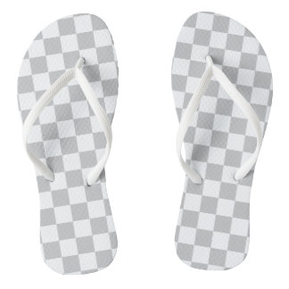Light Grey Checkerboard Flip Flops