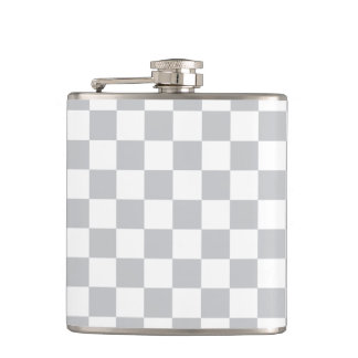 Light Grey Checkerboard Hip Flask