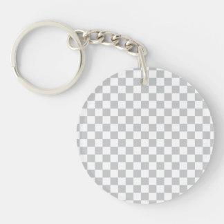 Light Grey Checkerboard Keychain