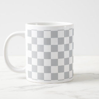 Light Grey Checkerboard Large Coffee Mug